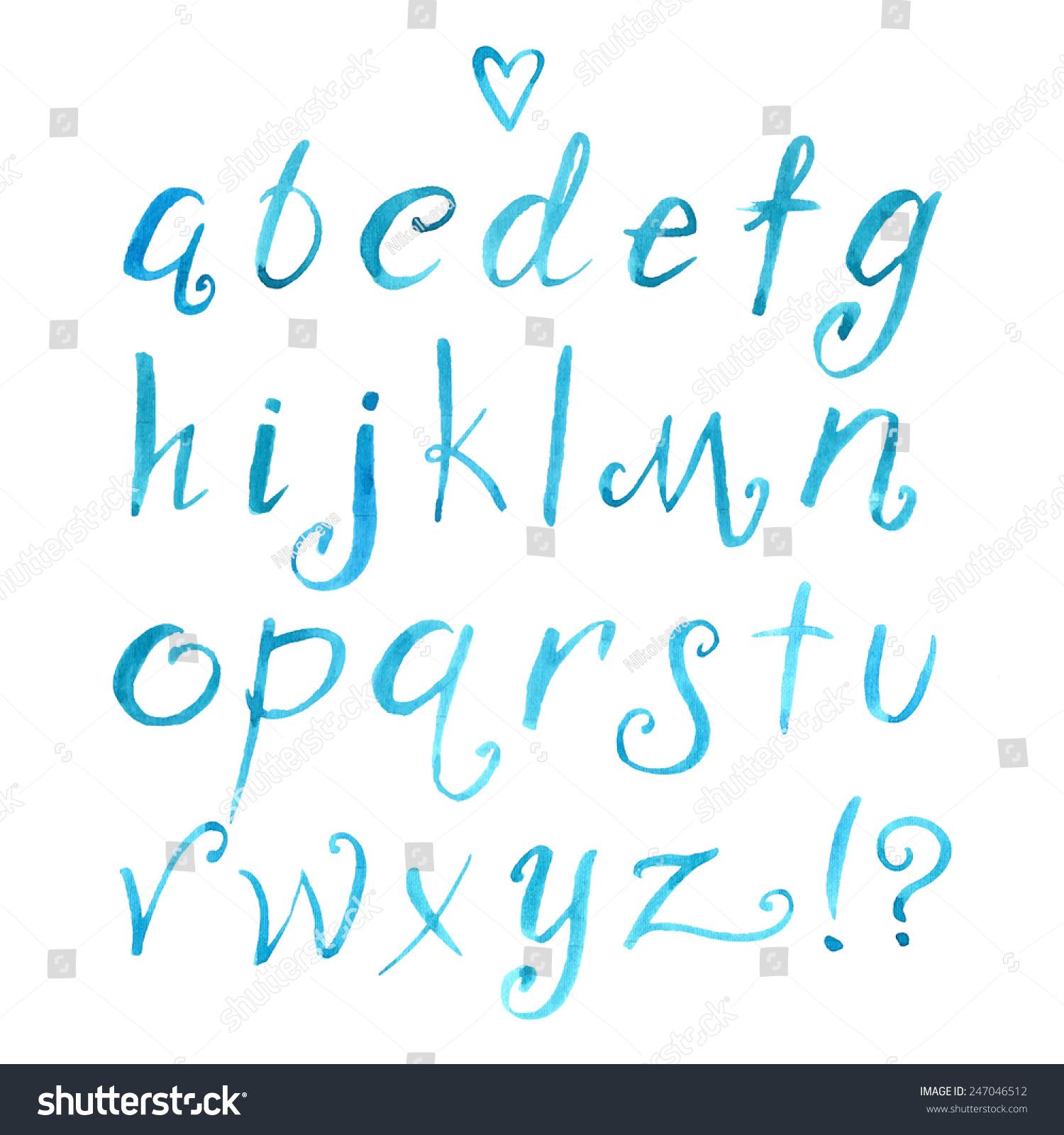 Hand Drawn Watercolor Elegant Funny Font Stock Vector