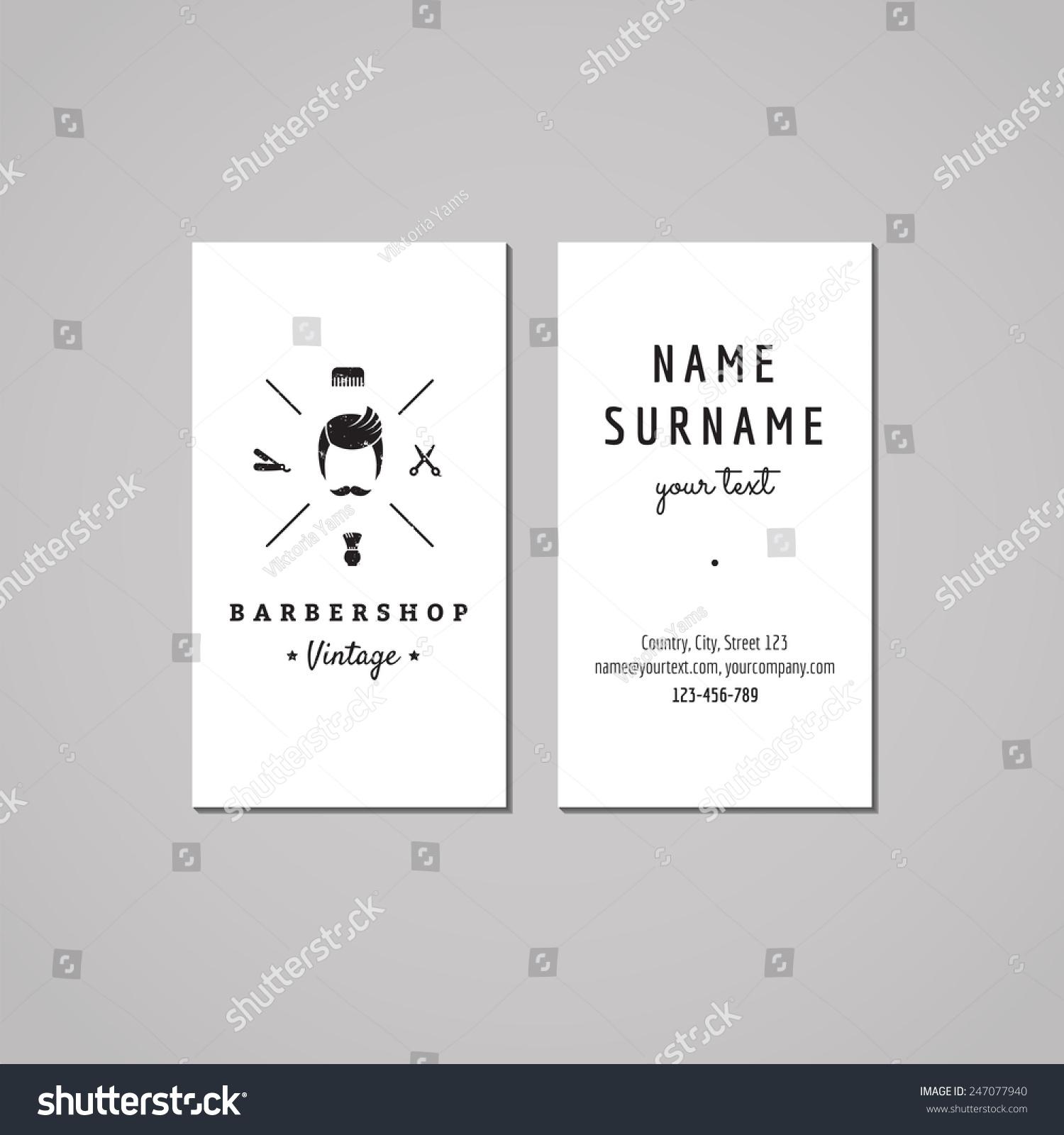 Barbershop Hair Salon Business Card Design Stock Vector (2018 ...