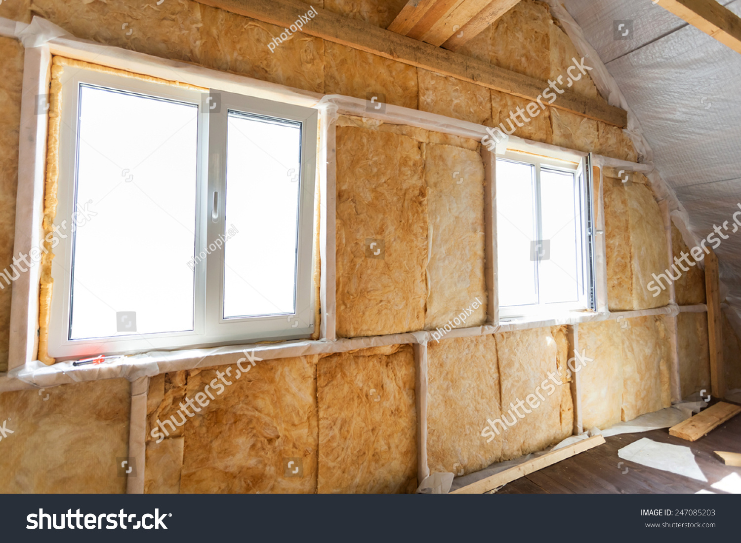 Inside wall heat isolation mineral wool stock photo for Isolation construction