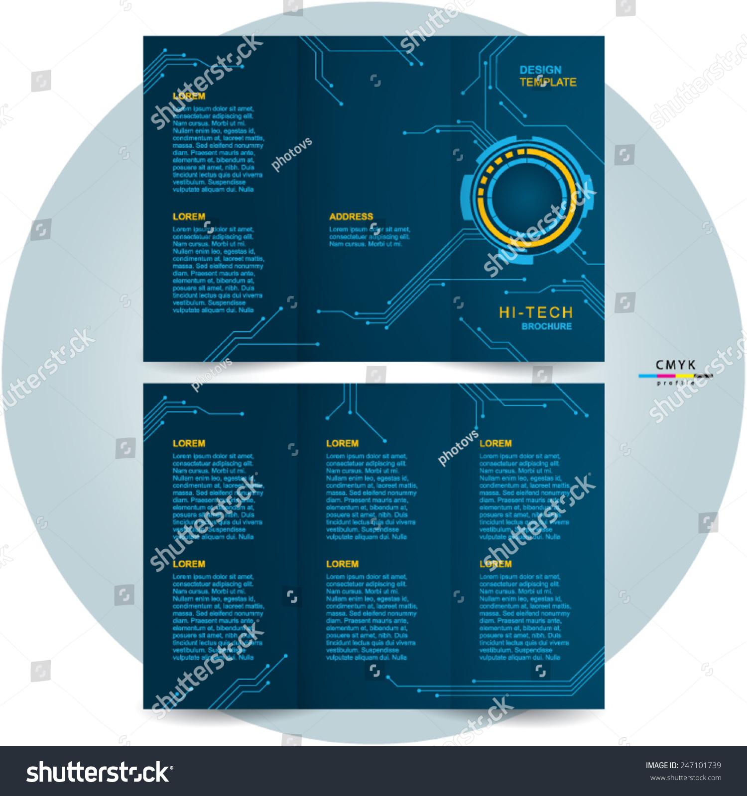 Brochure design template trifold futuristic hitech stock for Technical brochure template