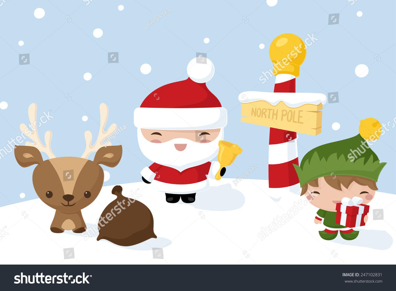 Kawaii Christmas Characters North Pole Stock Vector (Royalty Free ...