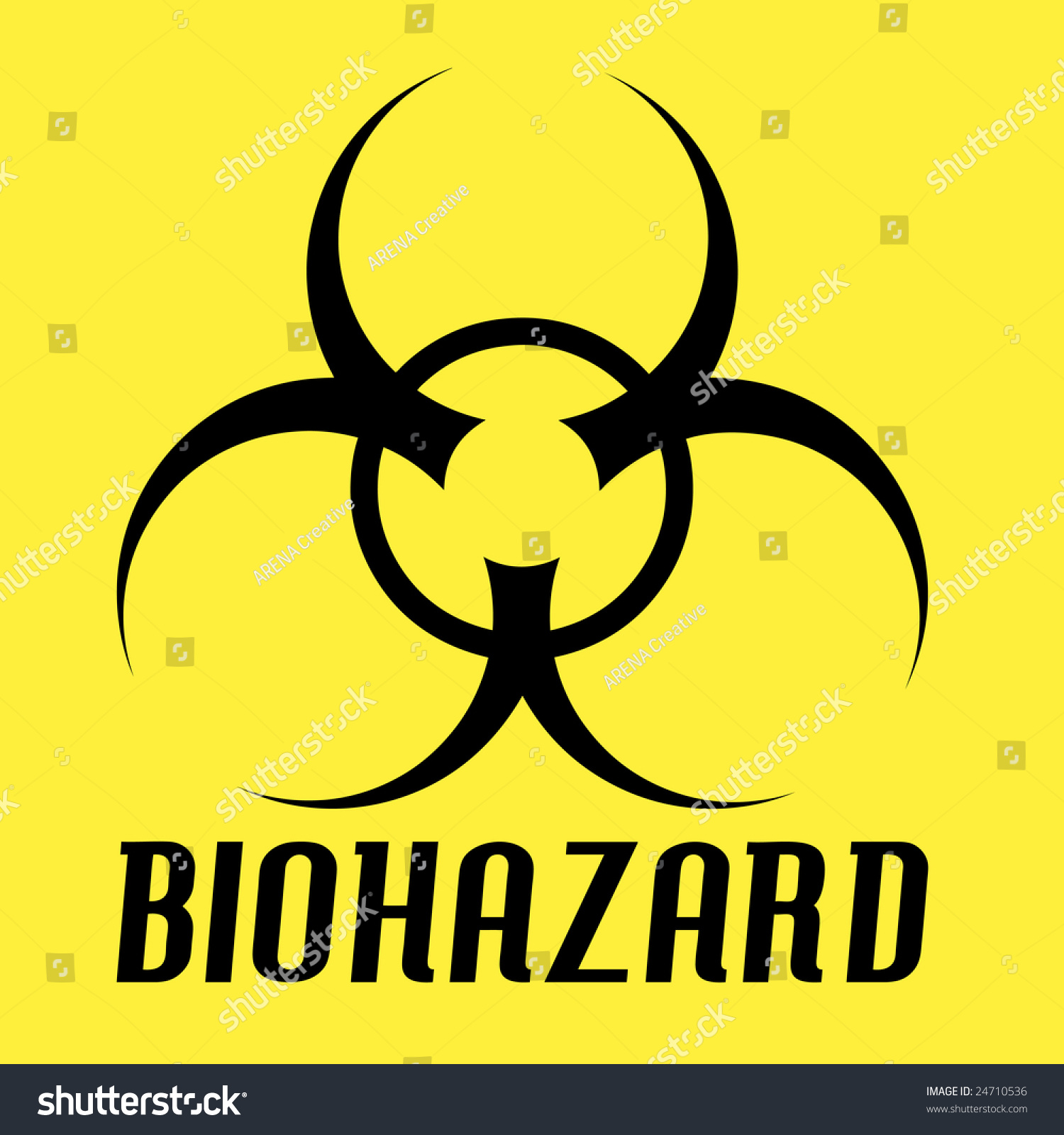 Biohazard Symbol Over Yellow All Elements Stock Vector Royalty Free