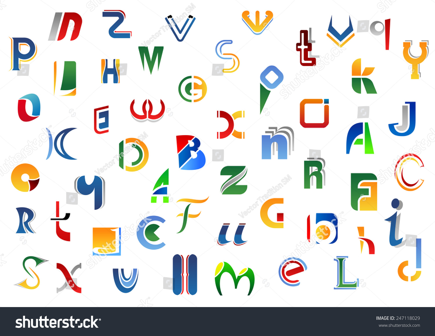Alphabet Letters Symbols Colorful Uppercase Lowercase Stock Vector