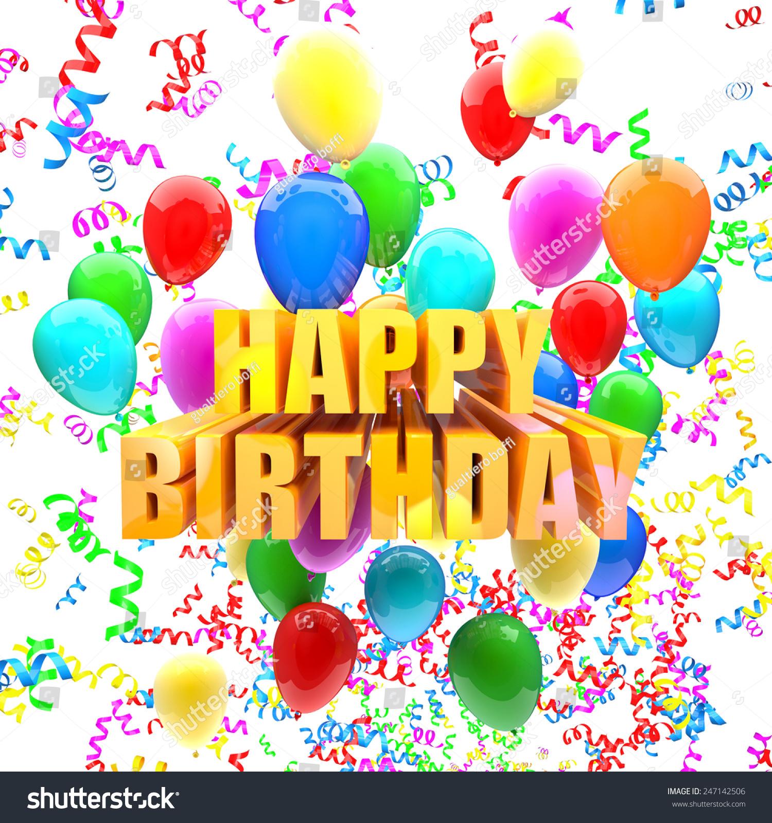 Ilustración De Stock Sobre Birthday Balloons 3d Image