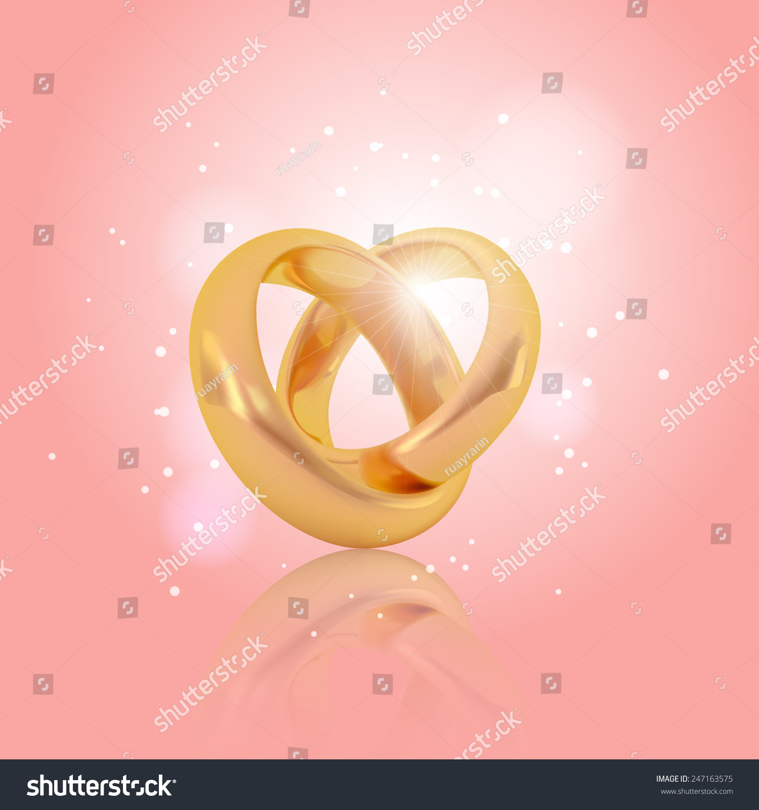Realistic Golden Couple Ring Background Vector Stock Vector (2018 ...