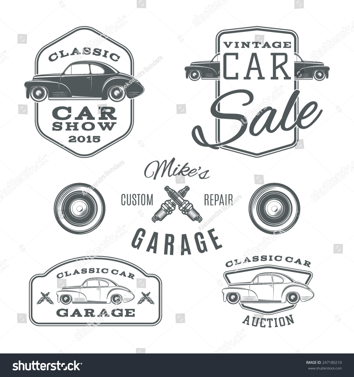 Royalty-free Set of vintage, classic car services… #247180210 ...