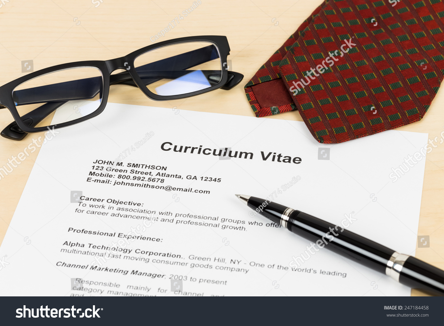 Curriculum Vitae CV Pen Glasses Neck Stock Photo (Royalty Free ...