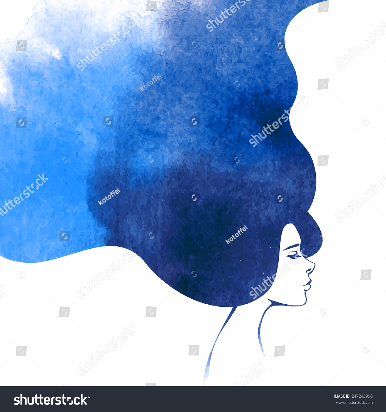 Hand painted mermaid watercolor vector silhouette stock vector - Watercolor Fashion Woman With Long Hair Vector Illustration Beautiful Mermaid Face Girl Silhouette