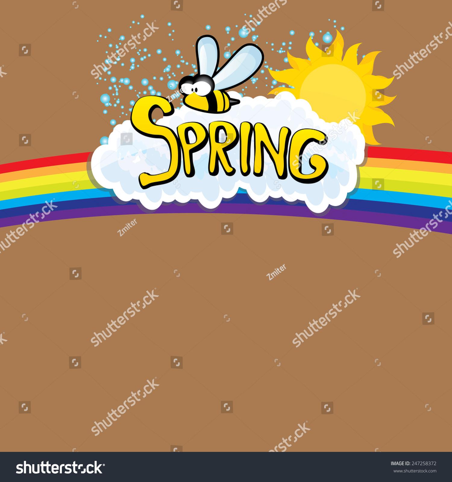 Cartoon Spring Word Flowers Butterfly Vector Stock Vector 247258372