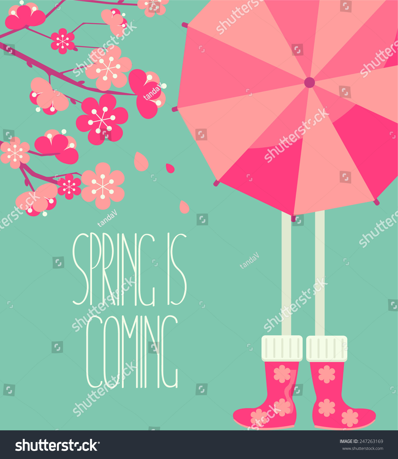 Vector illustration of a spring season in flat style cherry blossoms and people with a bright umbrella and boots with the inscription made by hand the Spring is coming