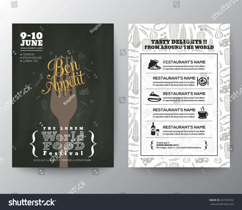 festival brochure design - food festival poster brochure flyer design stock vector