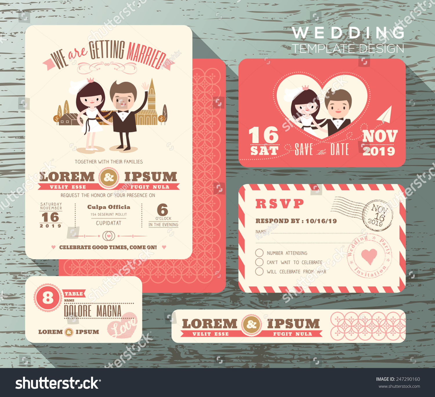 Cute Groom Bride Couple Wedding Invitation Stock Vector (Royalty ...