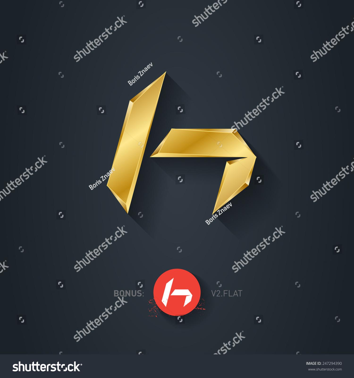 Vector gold font...H Logo 3d