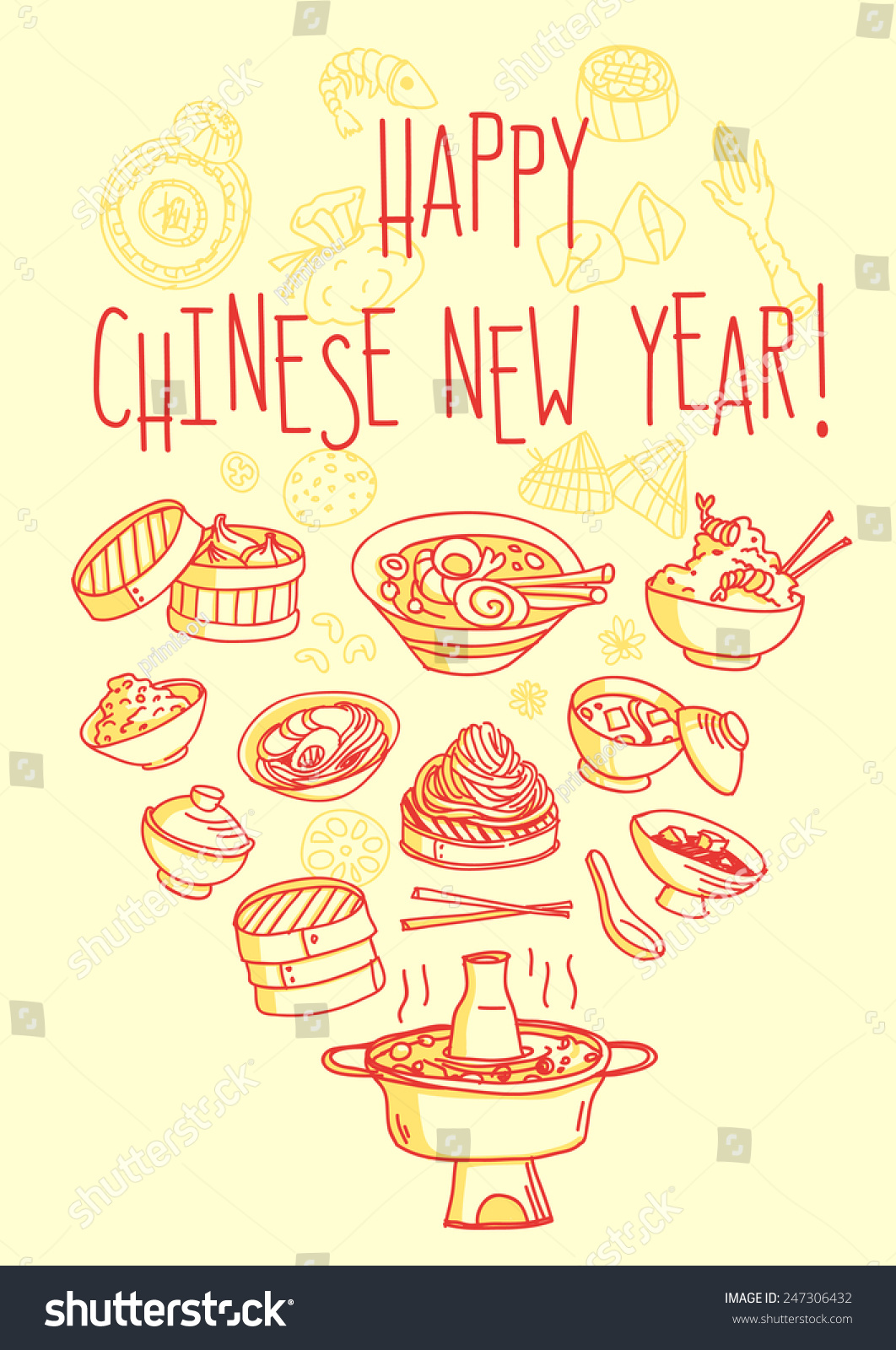Happy Chinese New Year Food Themed Stock Vector 247306432 Shutterstock