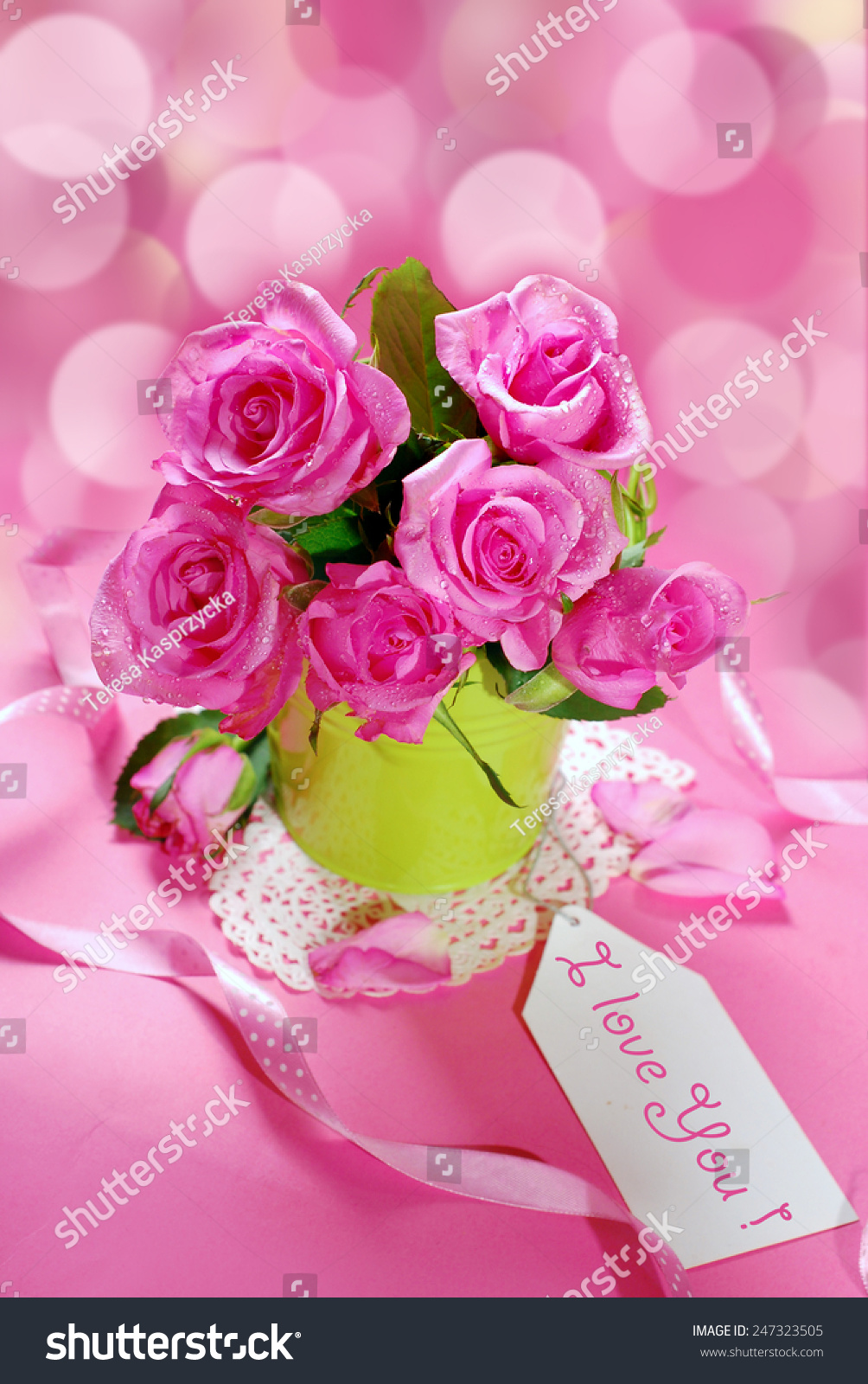 Bunch Of Roses And Paper Tag For Writing Text On Pink Background