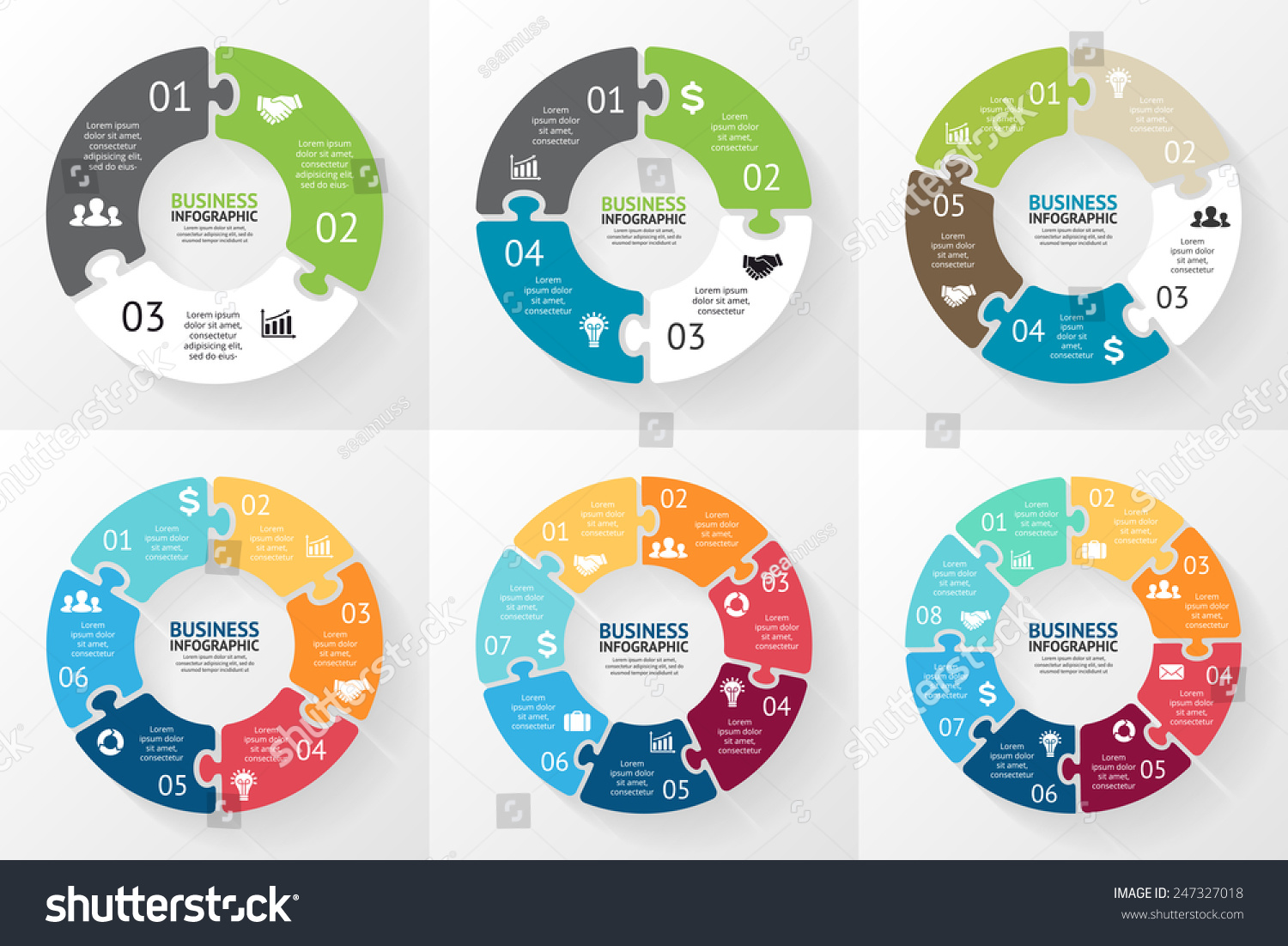 Vector Circle Puzzle Infographic Template Cycle Stock