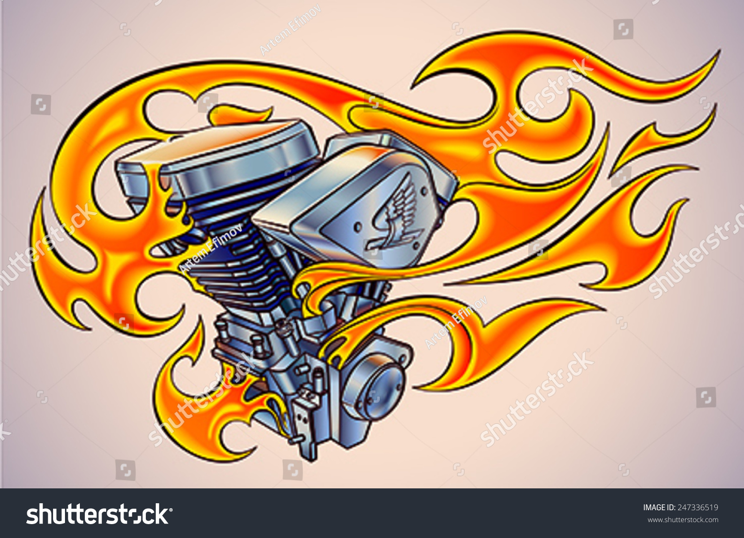 Motorcycle clip art with flames - Old School Styled Tattoo Of A Flaming Motorcycle Engine Editable Vector Illustration