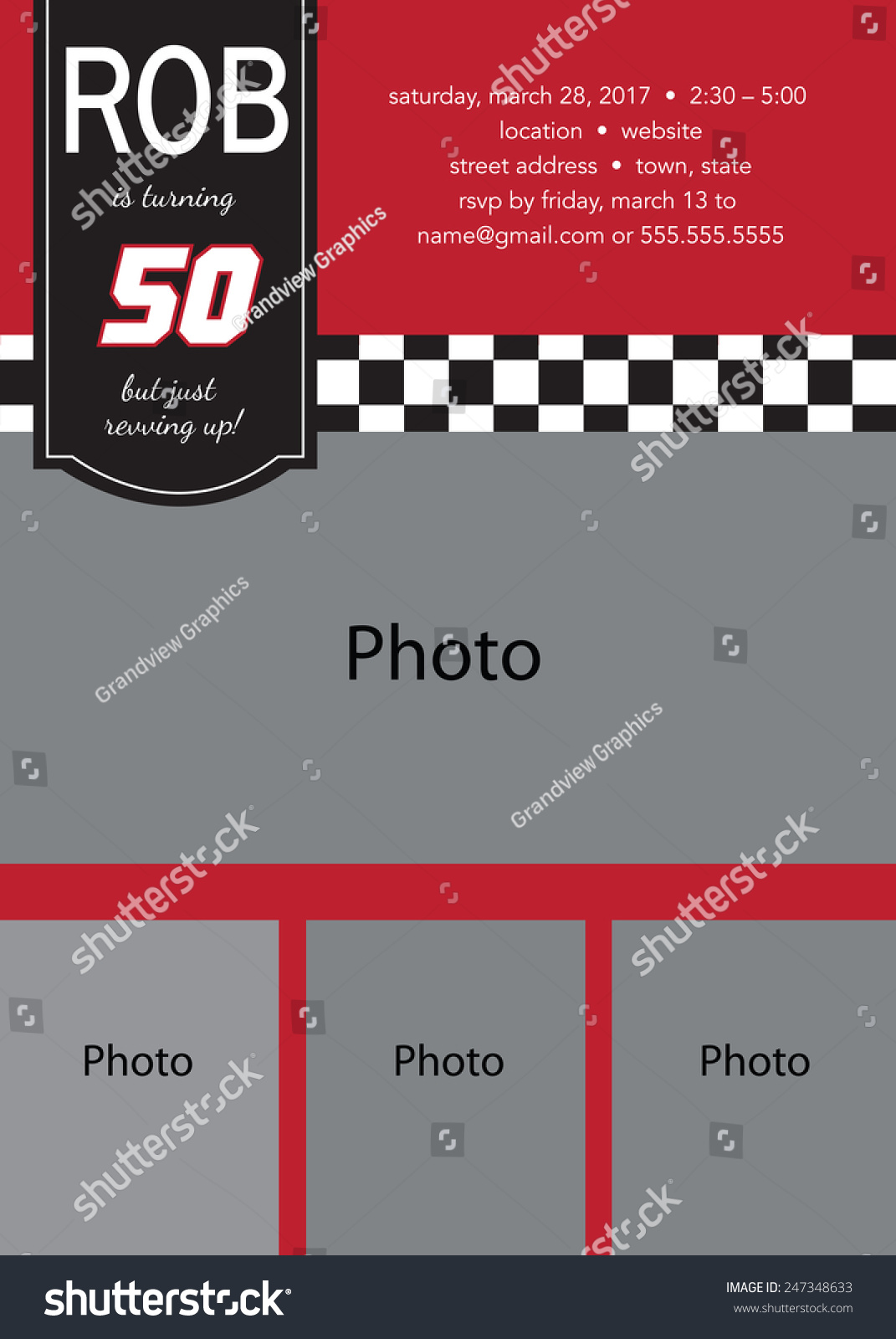 Gmail theme template - 50th Birthday Party Photo Template Racing Theme Vector File