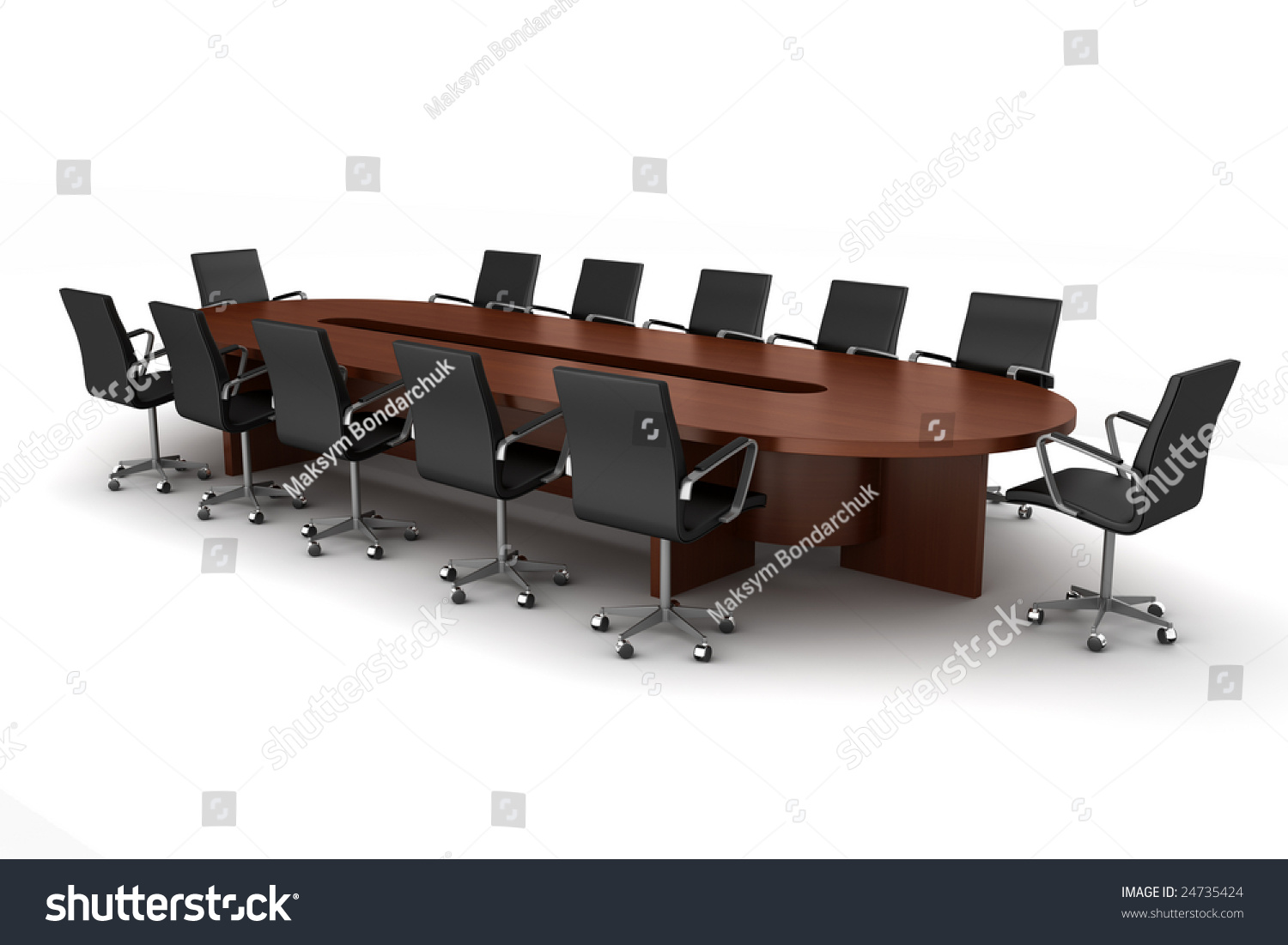 Conference Round Table And Black Office Chairs In Meeting Room - Black conference room table