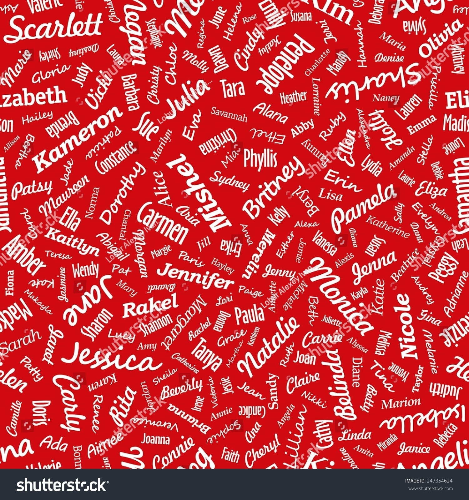 seamless texture from famous womans names valentines day vector - Valentines Names