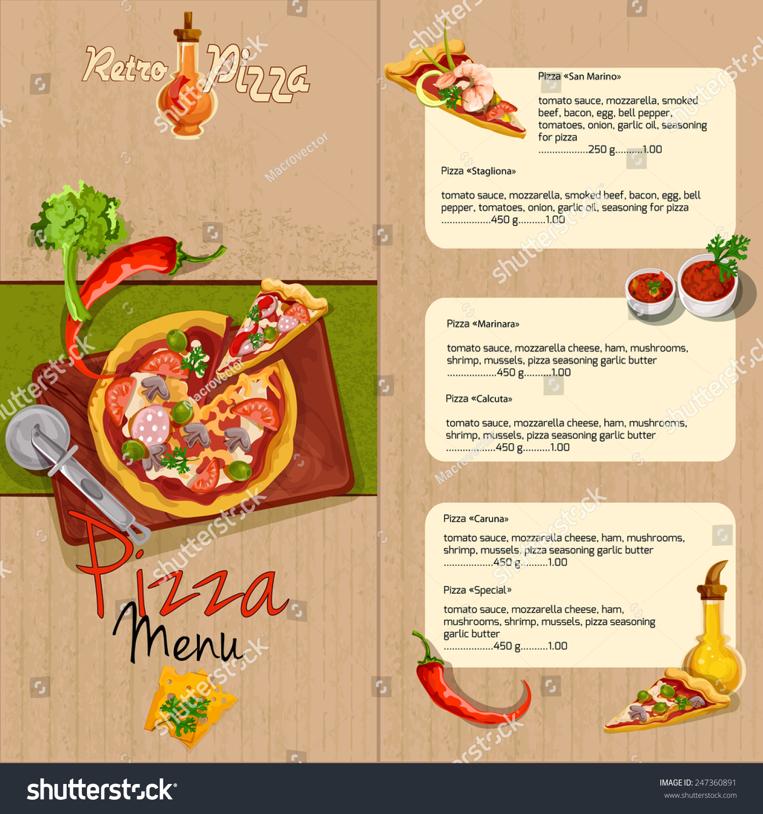 royalty free pizzeria pizza restaurant menu template 247360891