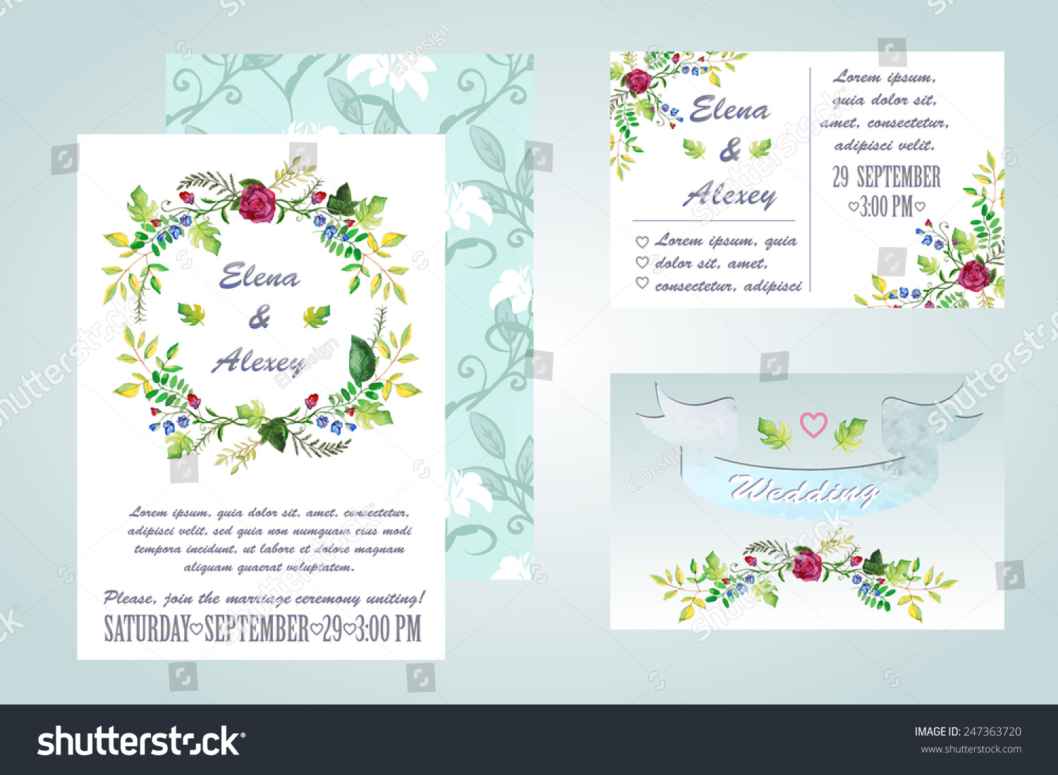 Watercolor wedding invitation vector illustration can stock vector watercolor wedding invitation vector illustration can be used to design the invitation to the stopboris Image collections