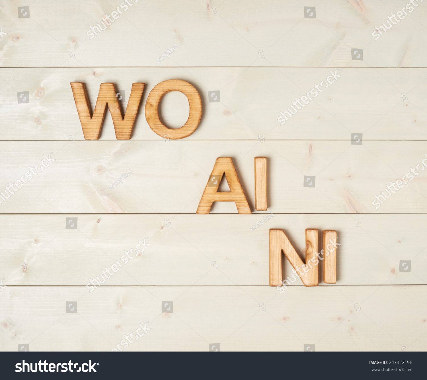 Wo ai ni meaning love you stock photo 247422196 shutterstock wo ai ni meaning i love you in chinese written with the block letters over the biocorpaavc