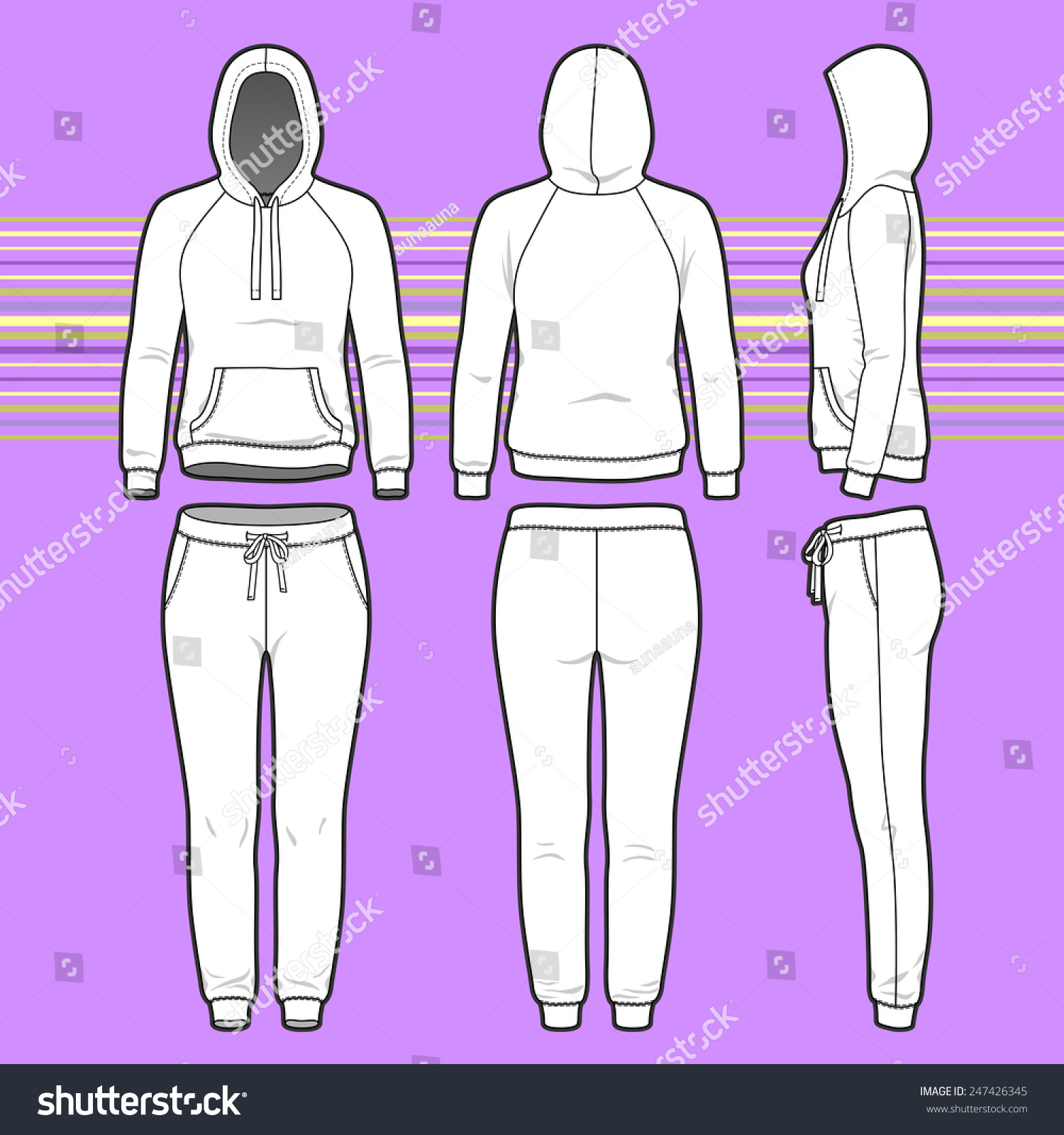 Front Back Side Views Womens Clothing Stock Vector Royalty Free 247426345