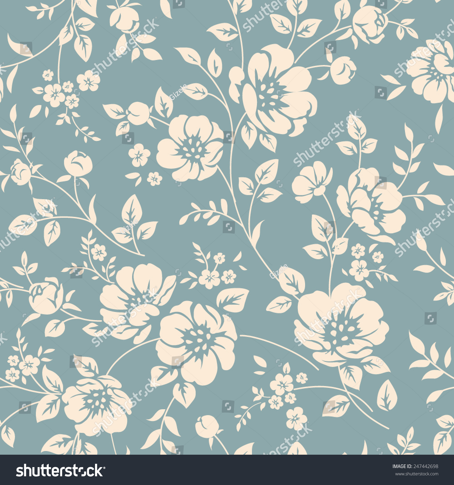 Seamless Vector Floral Wallpaper Decorative Vintage Backgrounds