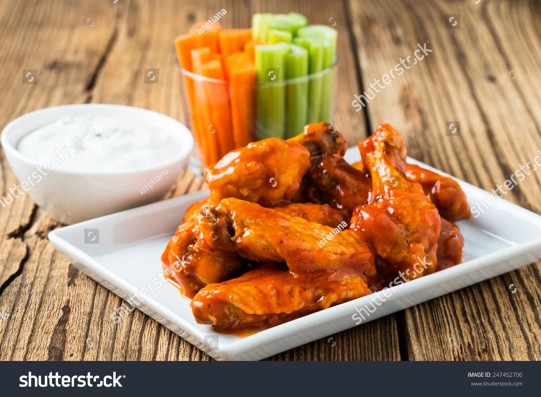 Buffalo Chicken Wings Cayenne Pepper Sauce Stock Photo