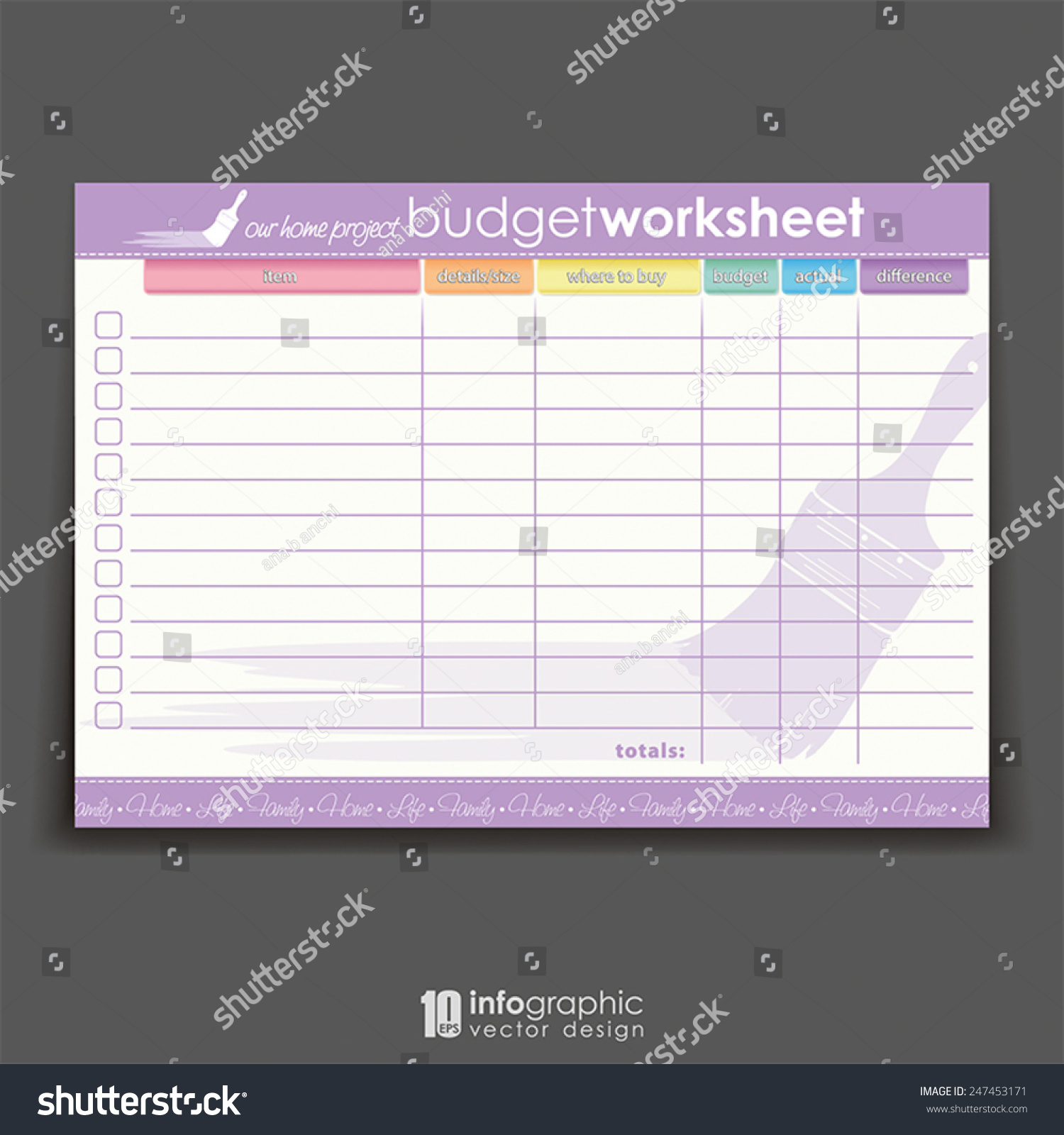 vector info graphic organizer home project stock vector royalty