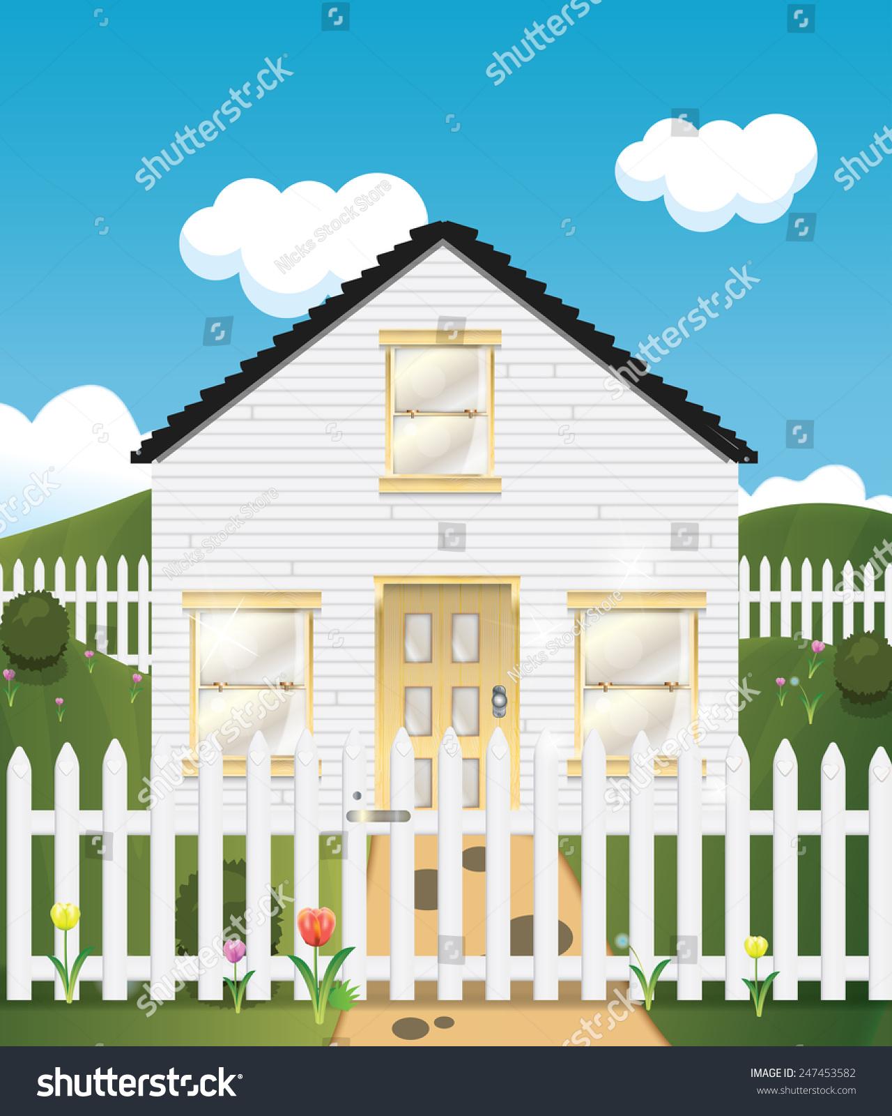 wooden house picket fence stock illustration shutterstock
