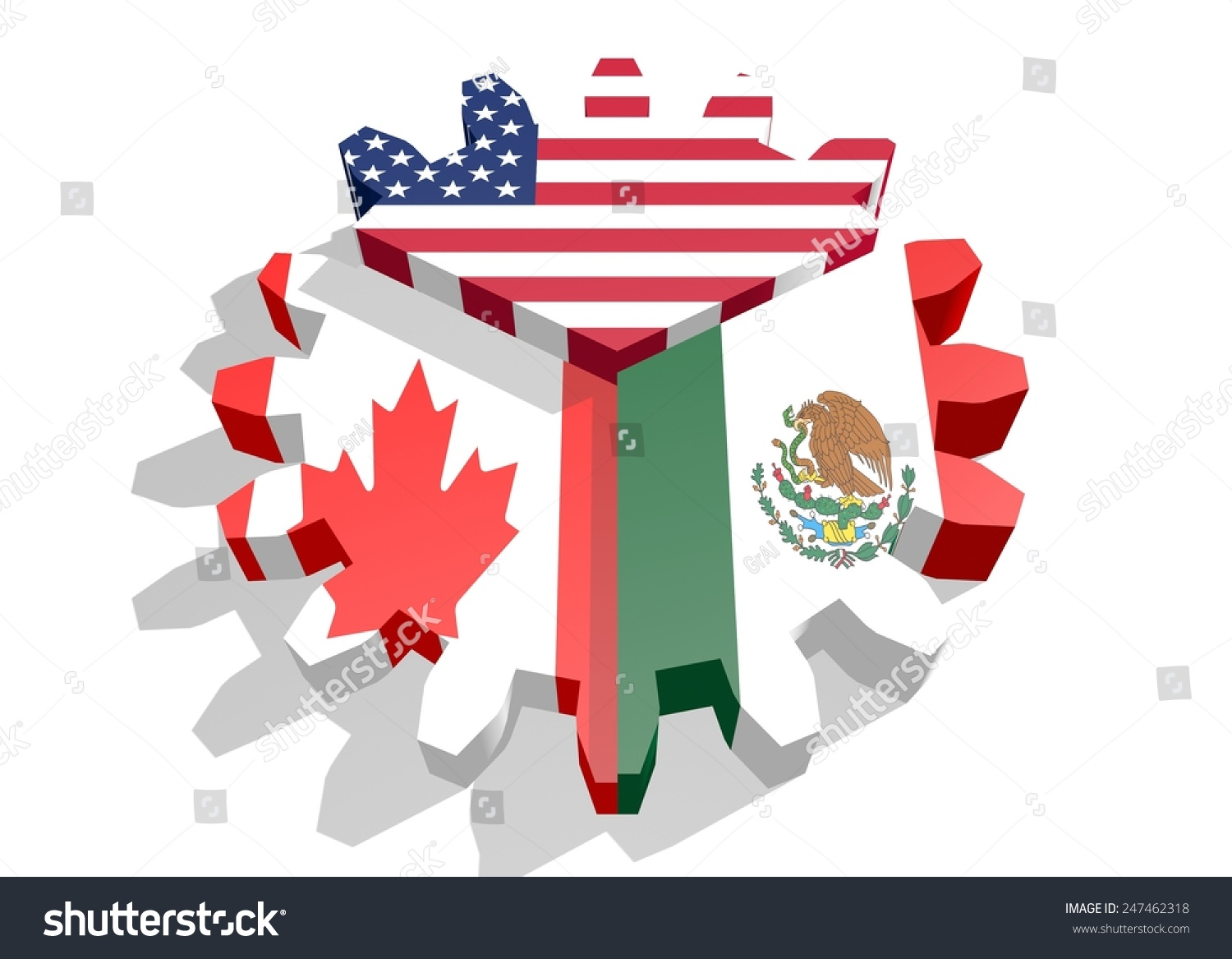 Nafta North American Free Trade Agreement Stock Illustration