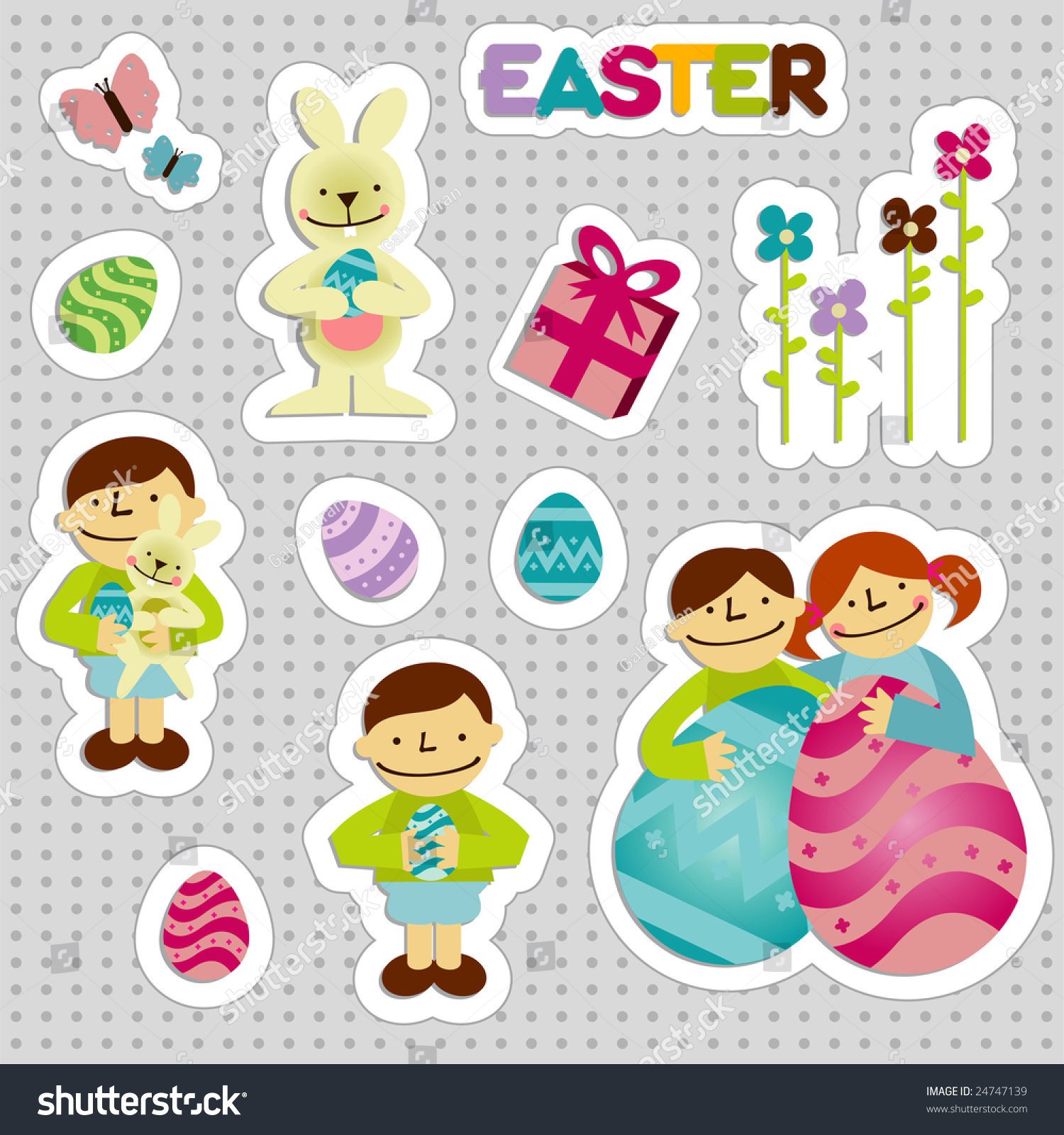 Set Of Easter Stickers With Elements Like A Girl, A Boy, Chickens ...