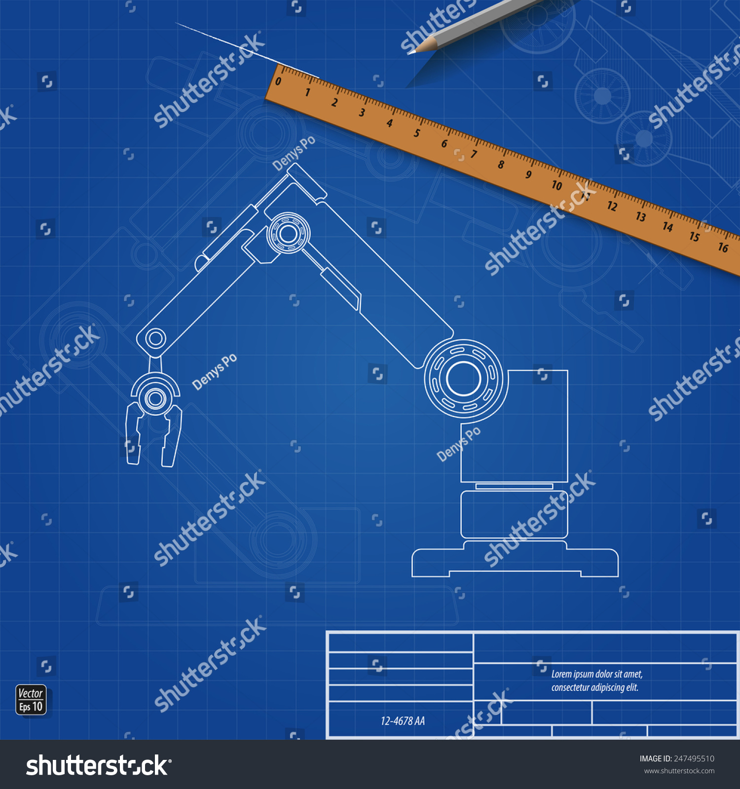 Blueprint robot arm vector illustration eps stock vector hd royalty blueprint robot arm vector illustration eps 10 malvernweather Images