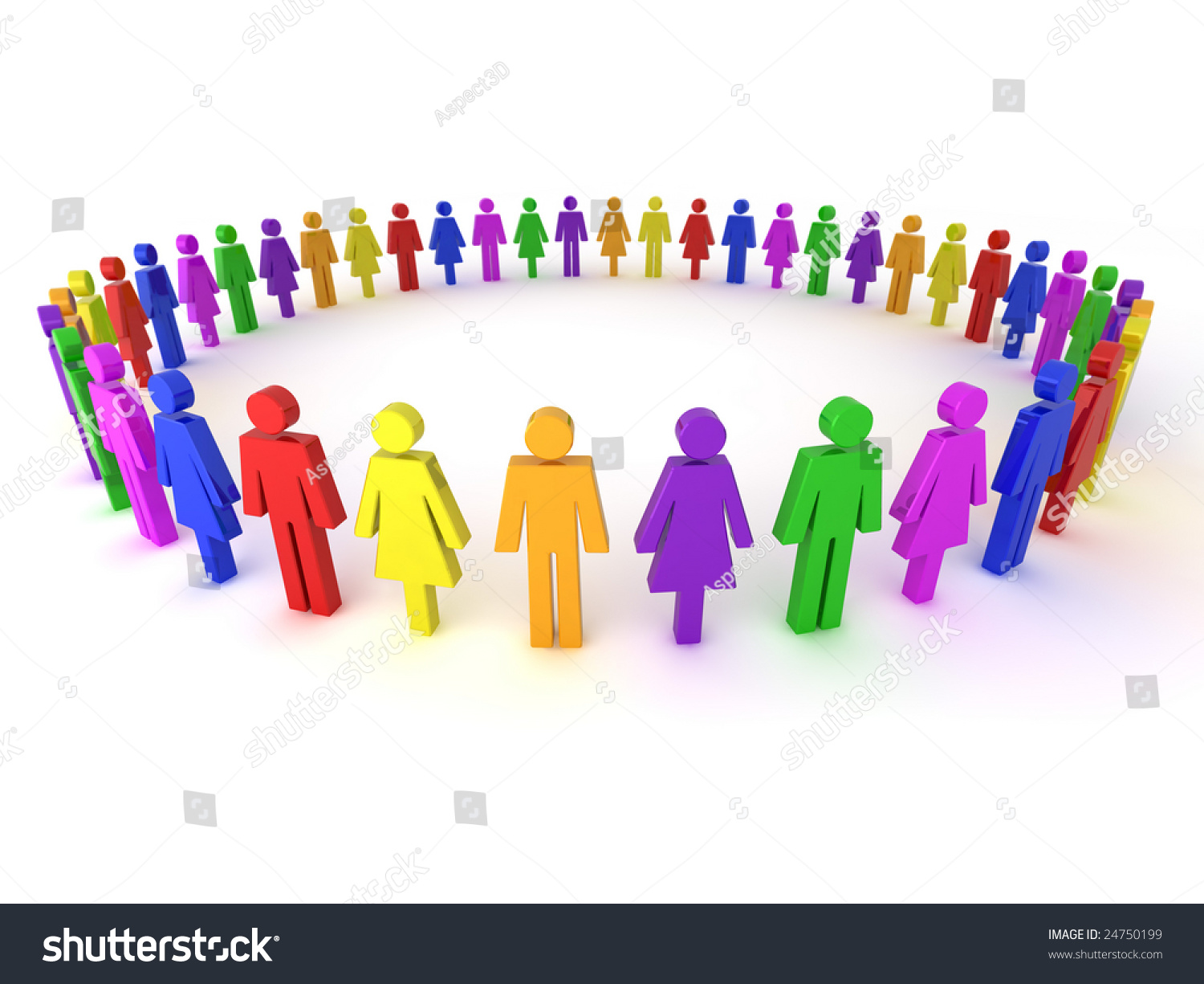 Illustration Of A Group Of Multi-Colored People To ...