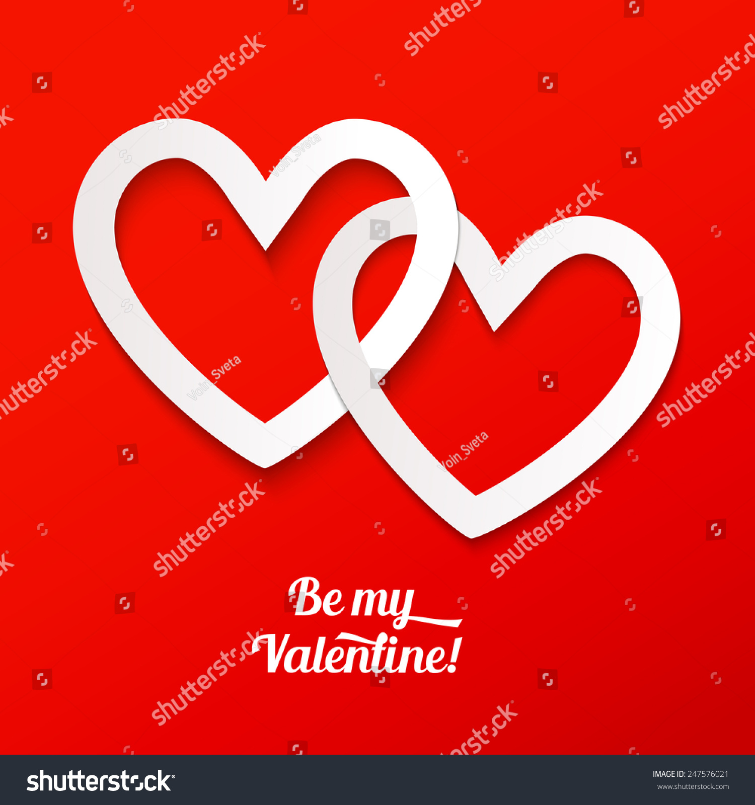 Valentines Greeting Card Two Intersect Paper Stock Vector 247576021