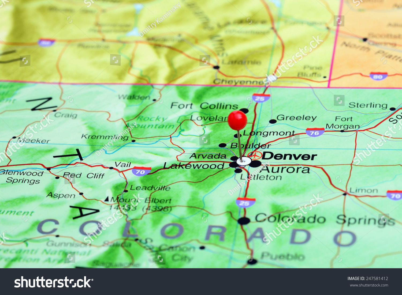 Denver Pinned On Map Usa Stock Photo 247581412 Shutterstock