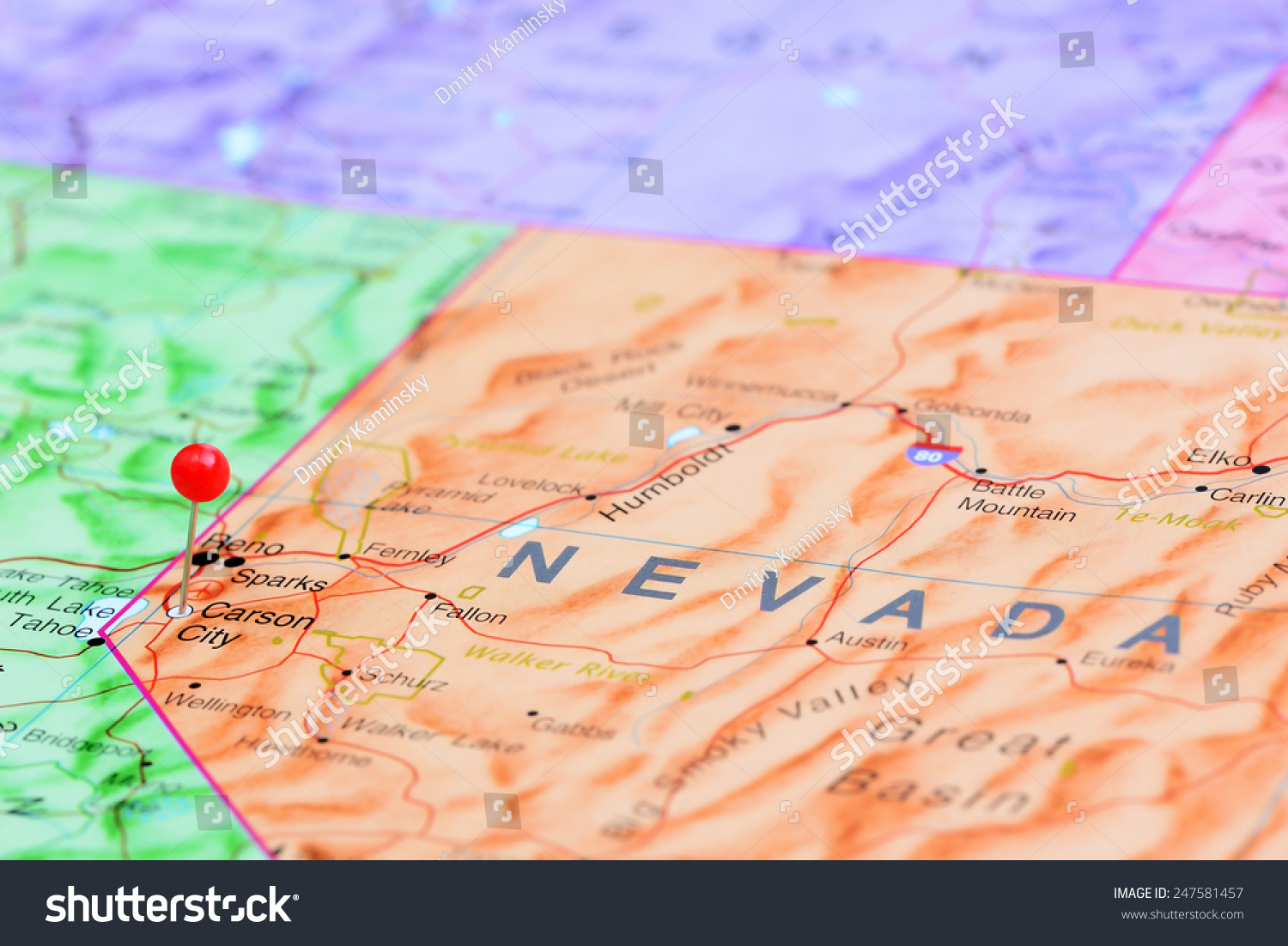 Carson City Pinned On Map USA Stock Photo (Edit Now) 247581457 ... on
