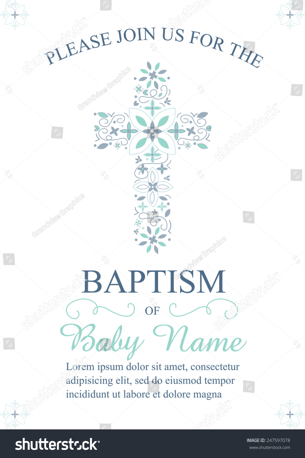 Blue Boy's Baptism Christening First Communion Confirmation Invitation with Cross Design