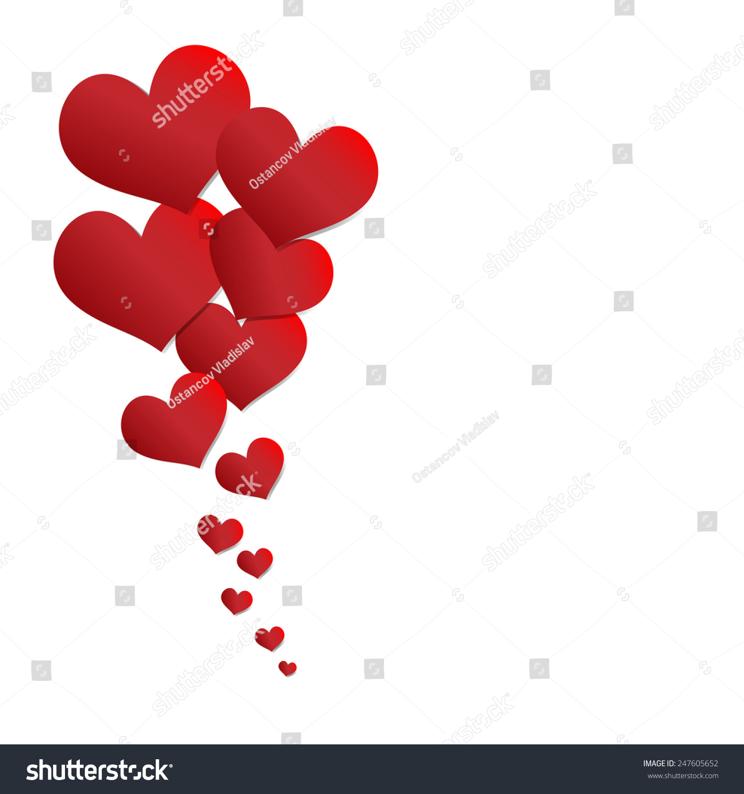 paper hearts valentines day card stock vector 247605652 shutterstock