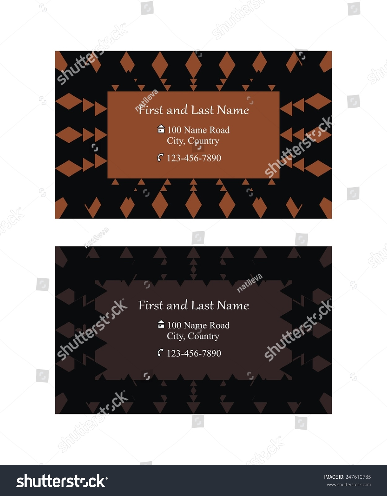 two single sided business cards text stock vector