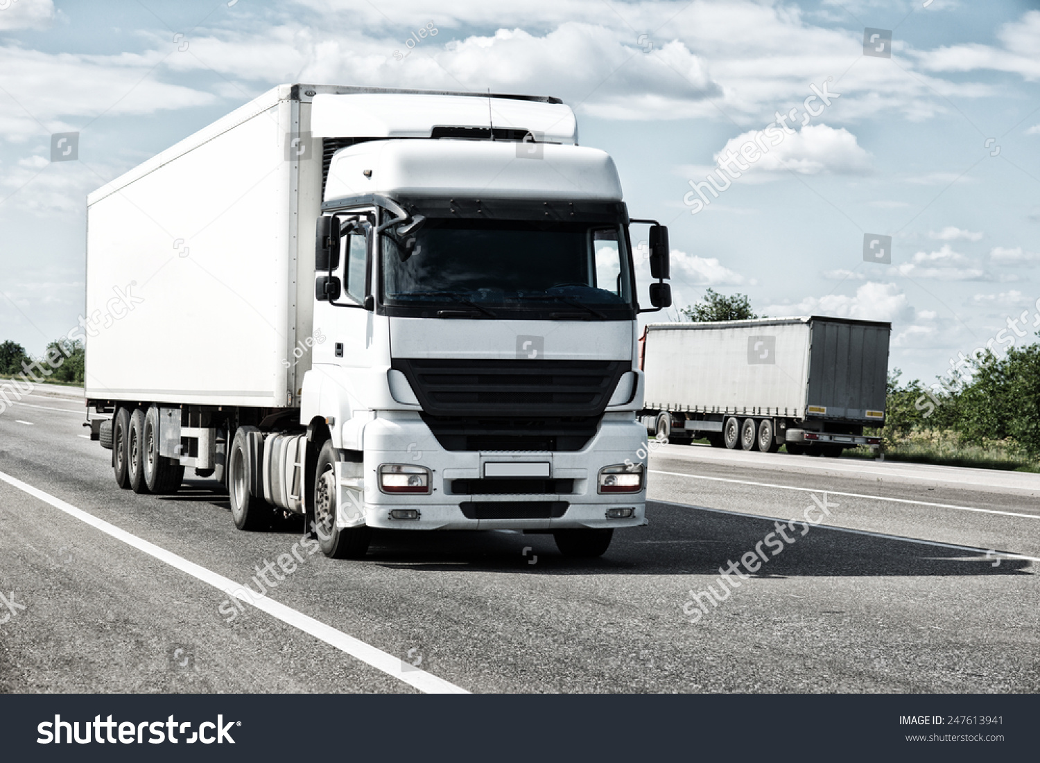 White truck on road Cargo transportation