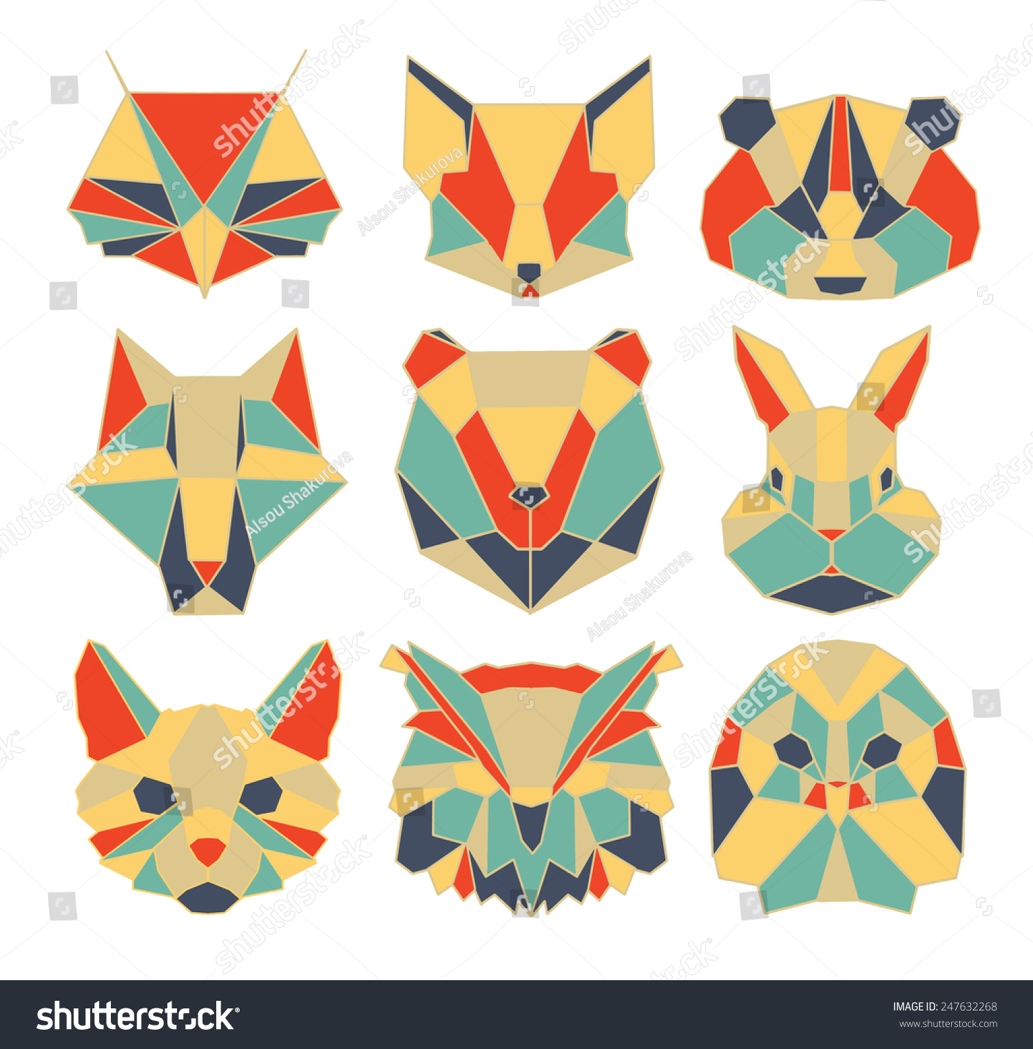 Polygonal Animal Wildlife Bird Bear Raccoon Stock Vector ... - photo#36