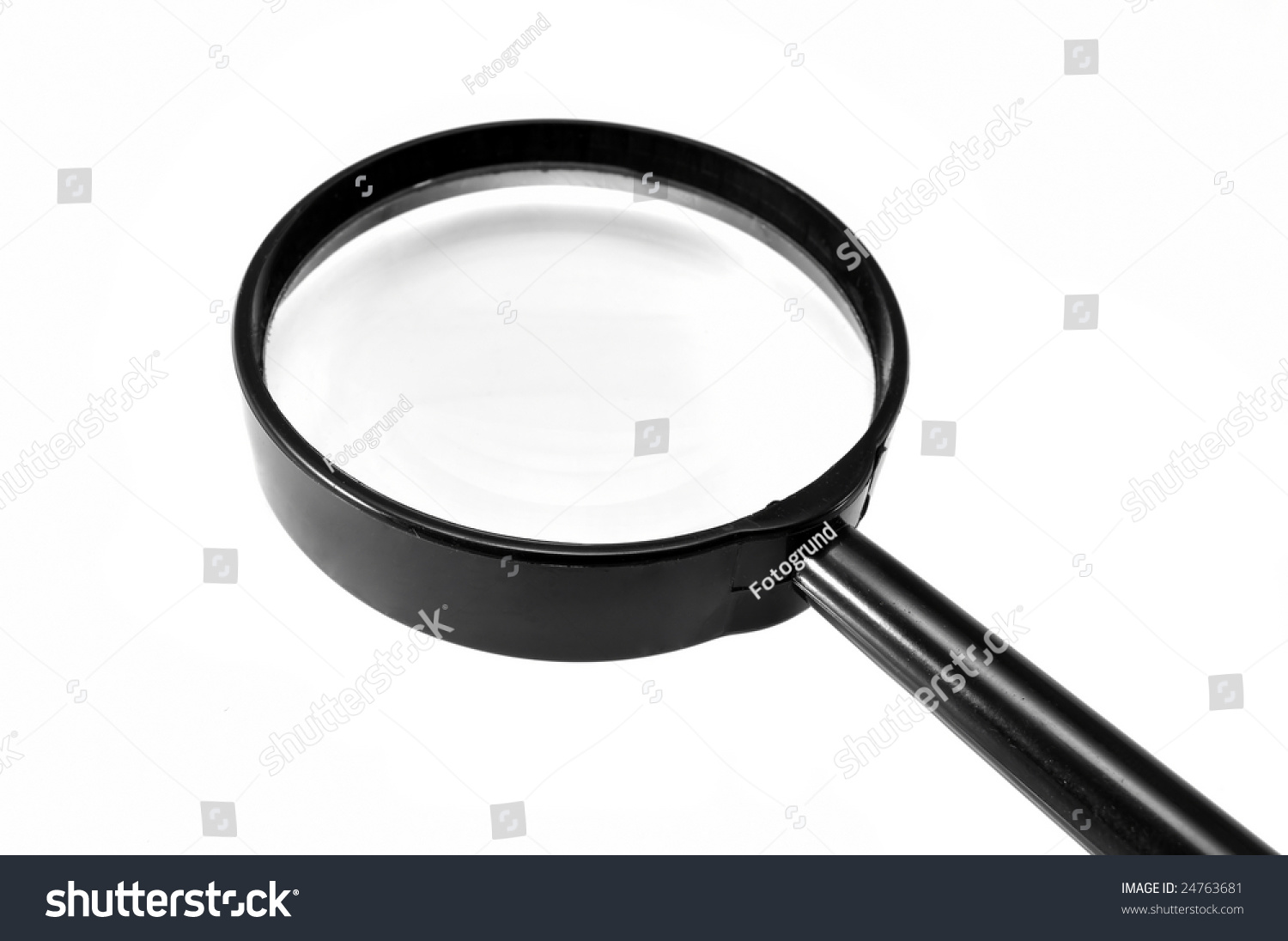 Black Magnifying Glass With A Handle And A White