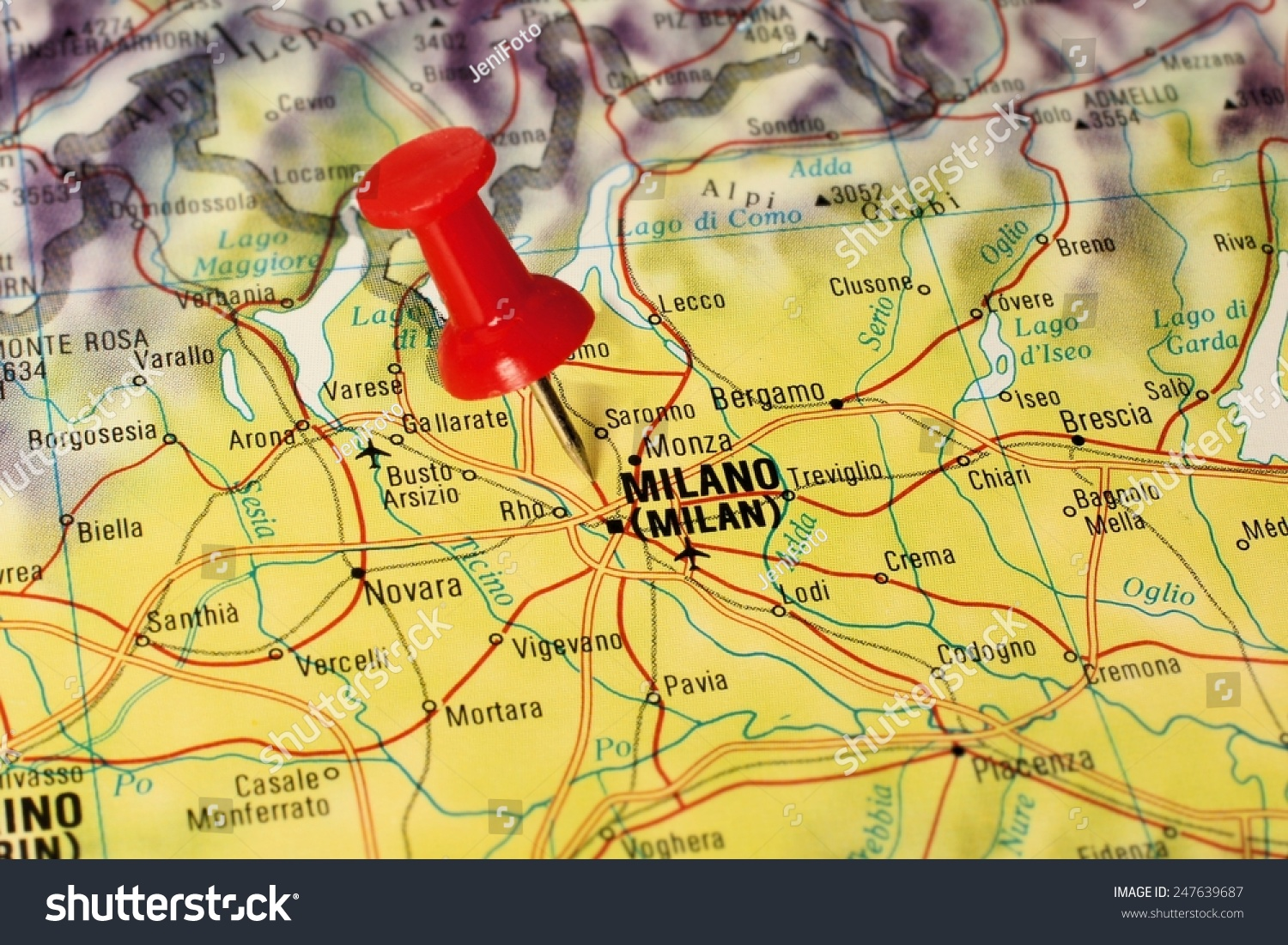 Close Milan Italy On Map Red Stock Photo (Edit Now) 247639687 ...