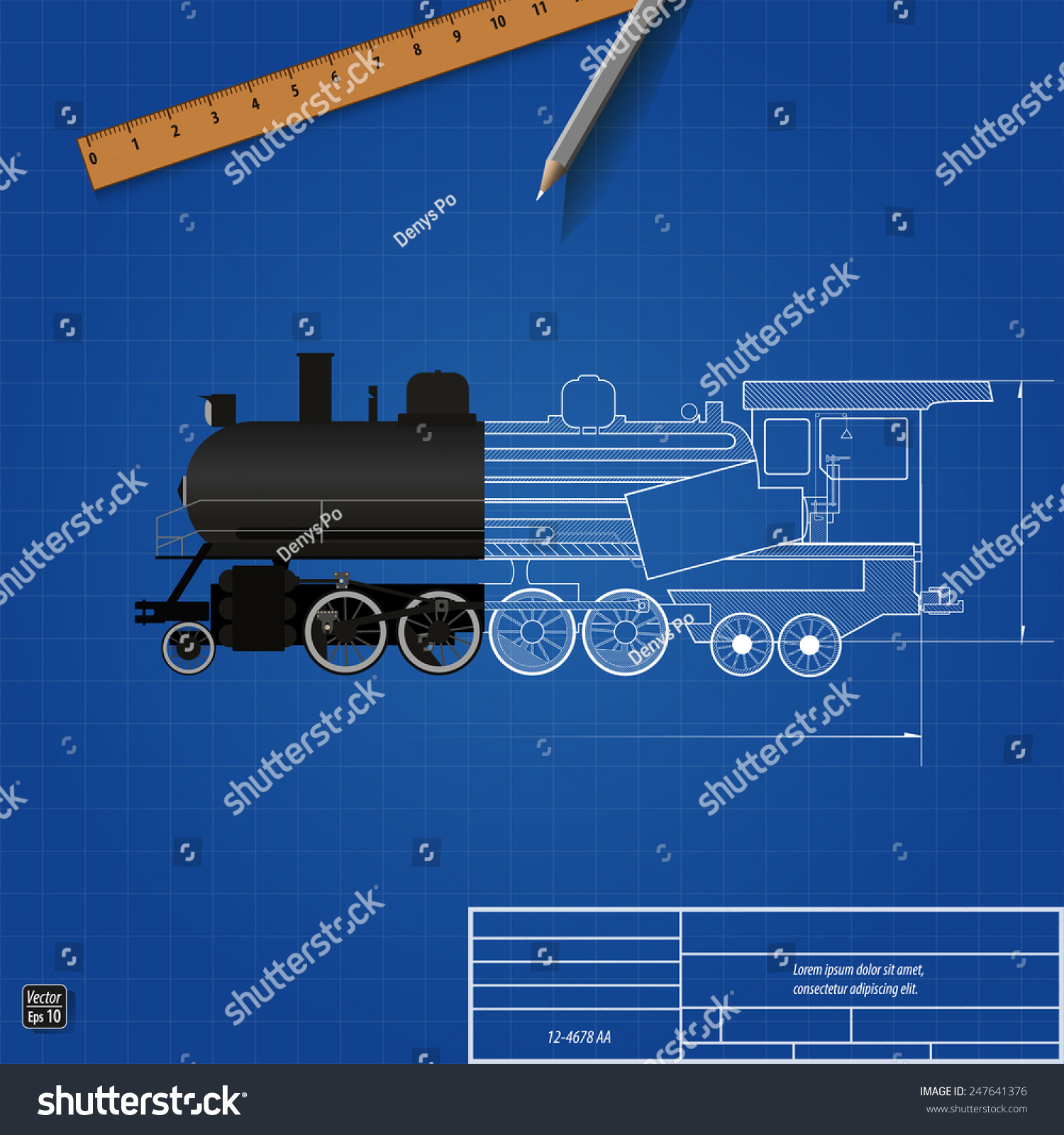 Blueprint Old Steam Locomotive Sectional Drawing Stock Vector Engine Diagram Illustration Eps 10