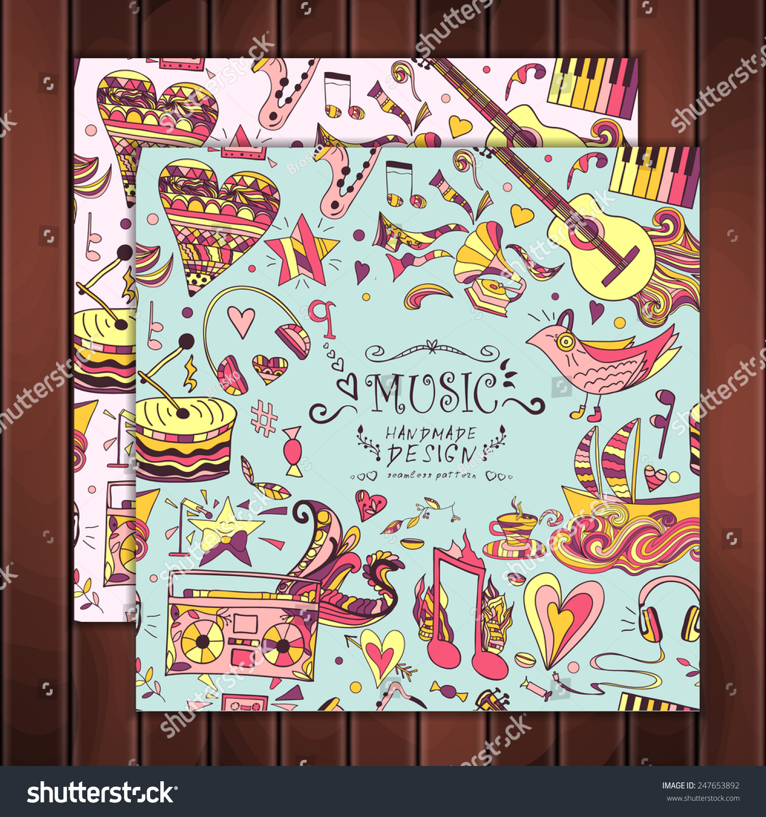Vector seamless pattern cute background greeting stock vector vector seamless pattern cute background greeting card notes love musical instruments kristyandbryce Choice Image