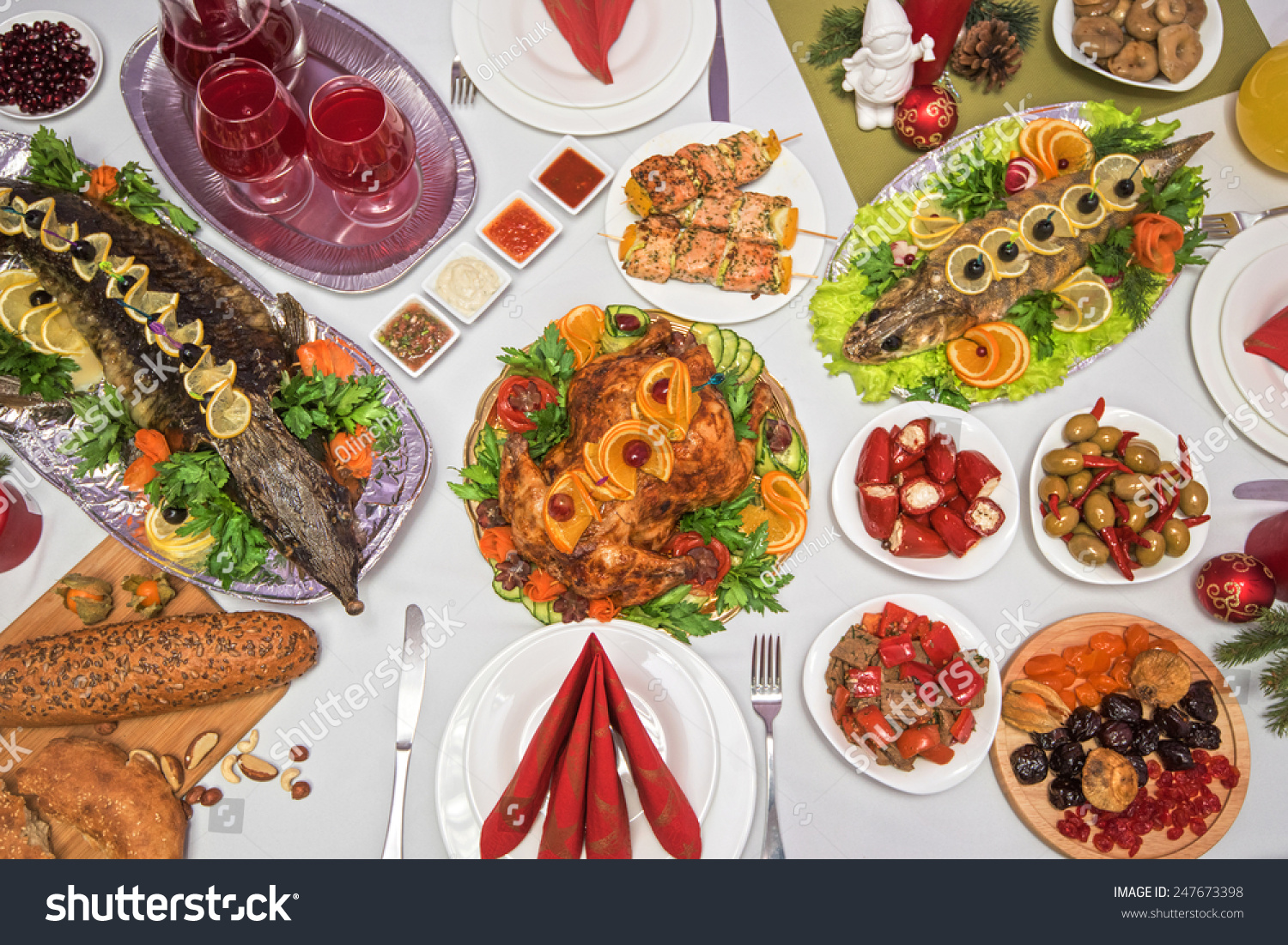 A lot of food on a table