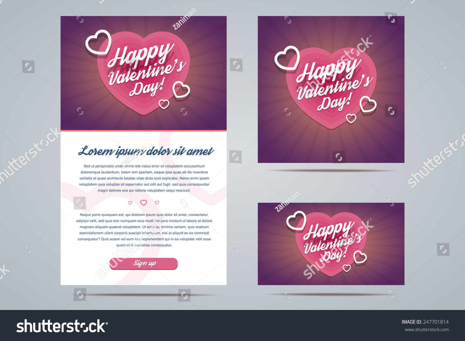 Happy Valentines Day Email Template Greeting Stock Vector Royalty
